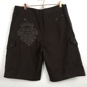 Vans Brown Skull Embroidered Cargo Shorts 36